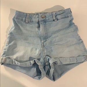 High waisted, light wash, jean shorts